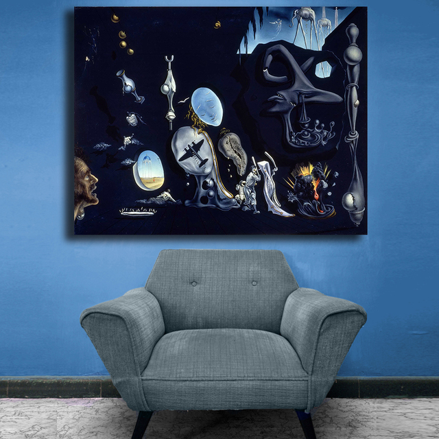 Salvador Dali Uranium and Atomica Melancholica Idyll art For Living Room Home Decoration Oil Painting On Canvas Wall Painting 1