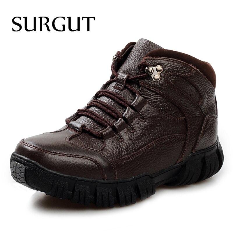 SURGUT New Men Boots For Men Winter Snow Boots Warm Fur&Plush Lace Up High Top Fashion Men Casual Ankle Boots Big Size 38~44