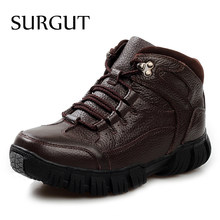 SURGUT Nieuwe Mannen Laarzen Voor Mannen Winter Sneeuw Laarzen Warm Bont & Pluche Lace Up Hoge Top Fashion Mannen Casual enkellaarsjes Big Size 38 ~ 44(China)