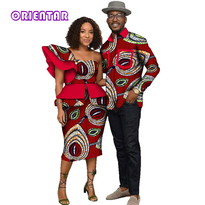 African Clothes for Men Women African Print Long Sleeve Men Shirt Women One Shoulder Tops Short Skirts Couples Clothing WYQ135