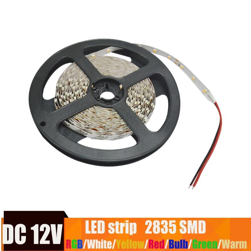 12V LED Strip 2835 Tape Flexible Diode Ribbon RGB Warm White Blue Green Red Yellow  Power  Waterproof Lighting 5M