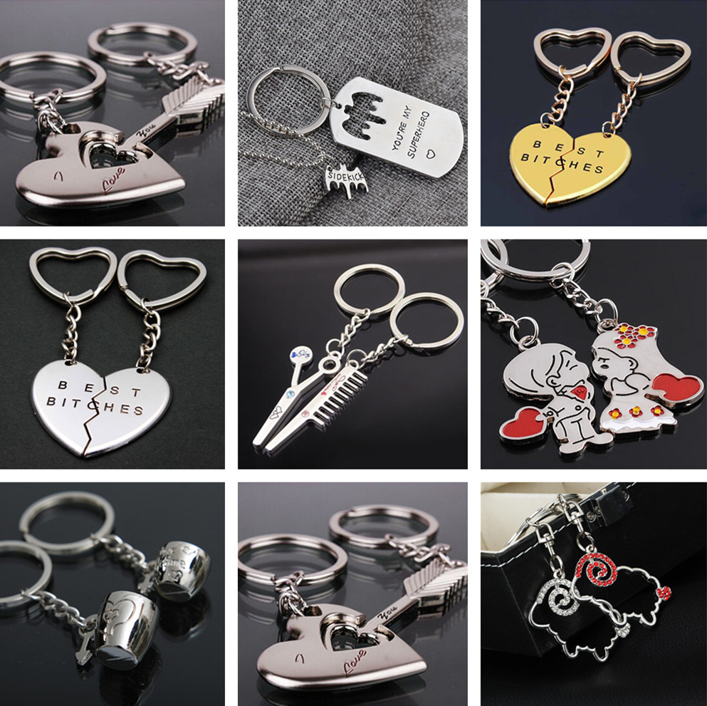 Fashion Heart Key Ring Silver Color Lovers Love Key Chain 1 Pair Couple I Love You Letter Keychain Valentine's Day Wedding Gift