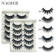 NAQIER макияж глаз 9 видов стилей 5 пар норковые волосы Накладные ресницы натуральные/толстые длинные ресницы Wispy макияж инструменты для наращивания красоты