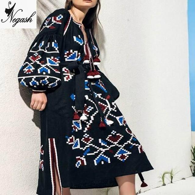 edee421272614c 2017 ontwerp Vrouwen Oversized Linnen Etnische Borduren Hippie Boho Mensen  Maxi Gewaad Lange jurk Dames kwastje