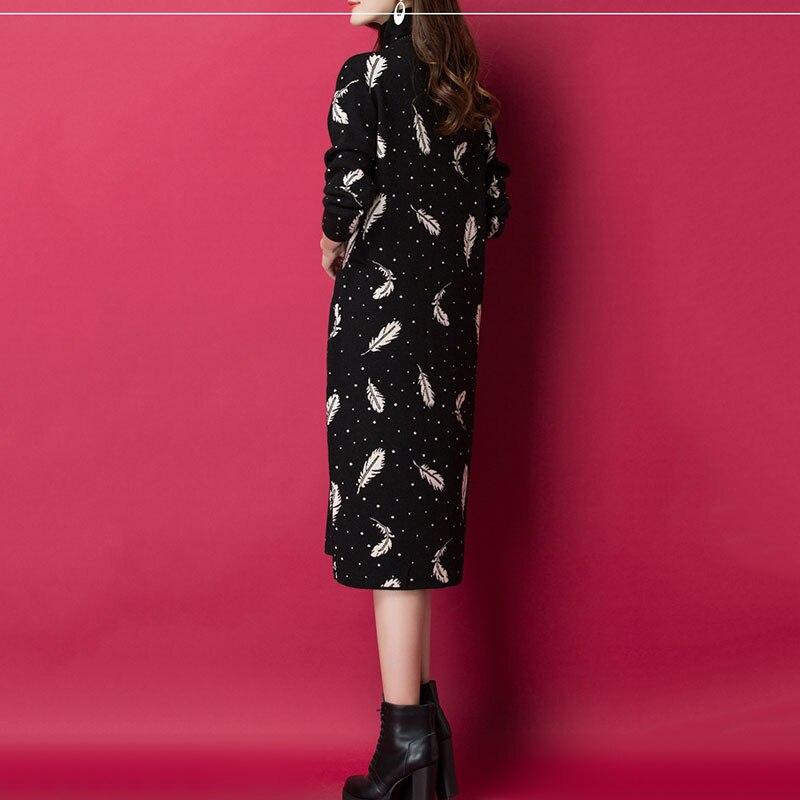 Femmes pull à col roulé tricot robe en cachemire 2019 printemps automne nouvelle robe de mode imprimer pull en vrac robe femme hiver NO653 - 6