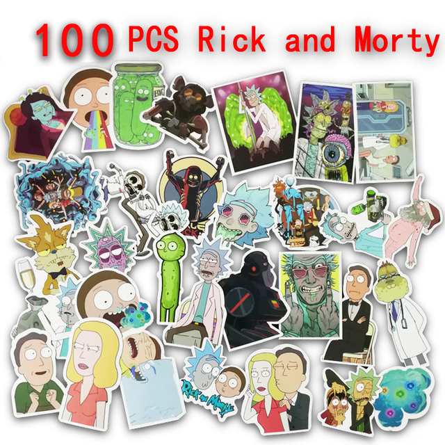 100pcs Rick And Morty Anime Sticker On Car Wallpaper Decal