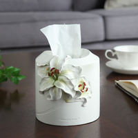 European American Paper Rack Elegant Lilies Resin Car Home Round Tissue Box Container Towel Napkin Tissue