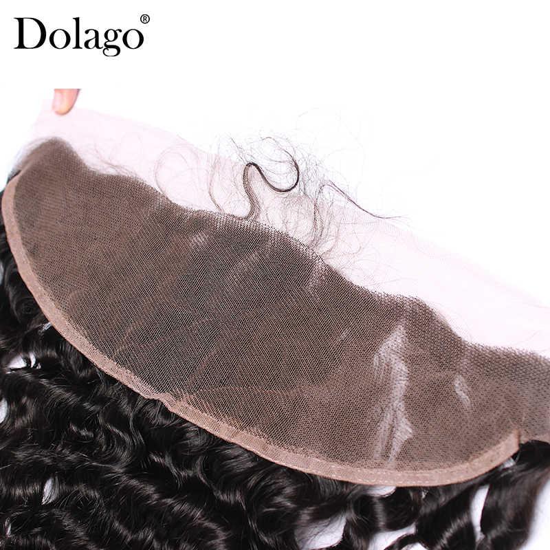 13x4 кружева Фронтальная застежка с ребенком волосы глубоко закрытие волна бразильский волос предварительно сорвал 100% человеческих Волосы remy Dolago