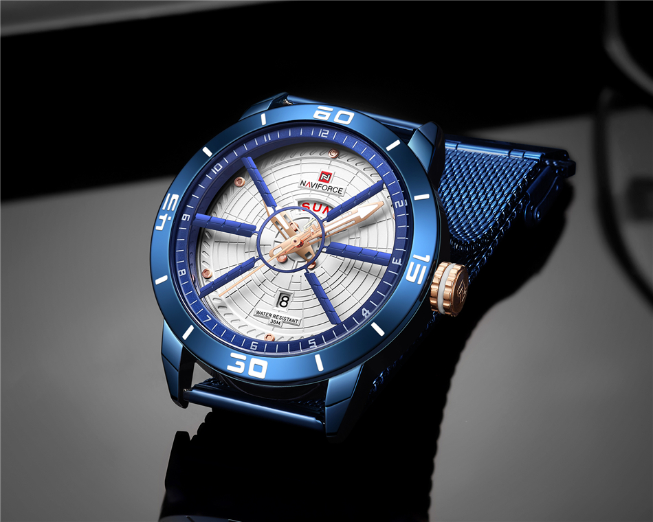 NAVIFORCE Mens Watches Top Brand Luxury Quartz Watch Men Full Steel Men Watch Sport Fashion Business Watches Relogio Masculino 12