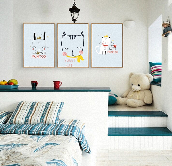 US $3.97 19% OFF|Animal Nordic Simple Style Cute Cartoon Sweet Cat Kitten  Poster Canvas Children\'s Bedroom Decoration Combined Poster-in Painting &  ...