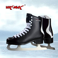 VIK MAX artificial wool lining figure skate shoes hot ice skate shoes classical black figure skate shoes