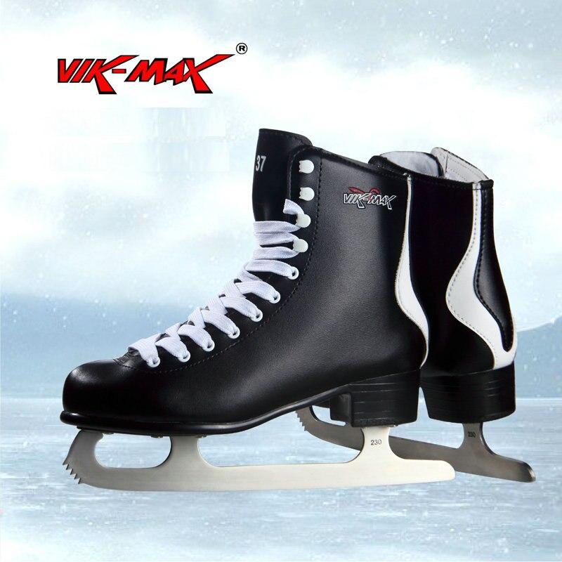 VIK-MAX laine artificielle doublure figure skate chaussures chaussures de patin à glace chaude classique noir figure skate chaussures