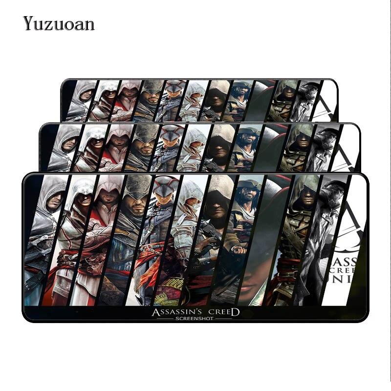 Yuzuoan 900*400*3mm XL large gaming Lock Edge mouse pad for Assassins Creed game gamer mousepad Keyboard mat Free Shipping