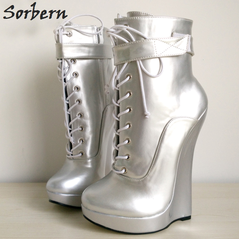 Sorbern Plus Size Ankle Boots For Women Lace Up Wedges Sexy Ladies Party Shoes 18CM Cheap Modest Unisex Party Boots Custom moonight cheap red overbust sexy corset top lace up corsets and bustiers plus size