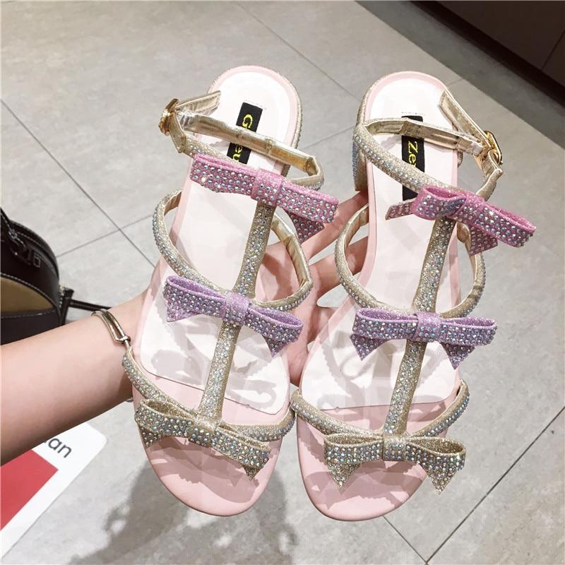 23db36dbc9a9fd HTB1hb4YwAOWBuNjSsppq6xPgpXaA New Women Summer Sandals Bling Bling Crystal  Bowknot Decor Sandals Runway Chunky Heels Pumps Gladiator