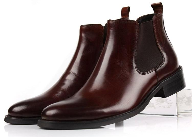 Didelės apimties Eur45 rudos spalvos batai / juodi kulkšnies batai Vyriški verslo batai, natūralūs odiniai batai, vyriški suknelės batai