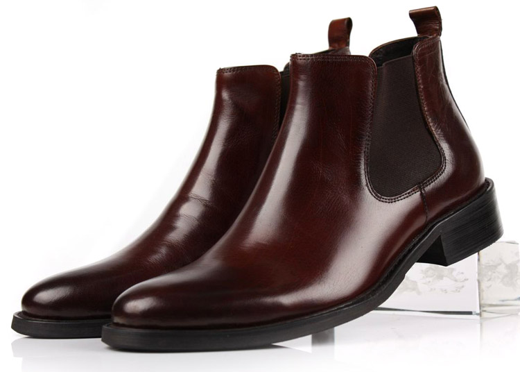 Velike veličine Eur45 smeđe tan / crne gležanj čizme Muške poslovne cipele od prave kože čizme muške haljine cipele