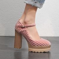 2019 Spring Shoes Women Pumps Fashion Ankle Strap Platform Shoes Women High Heels Comfortable Thick Heel Office Shoes Pumps