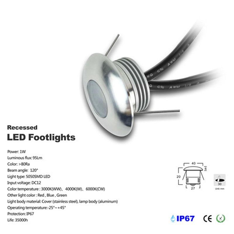 1w Mini LED Floor Decking Light Kit Spot encastrable Sol exterieur