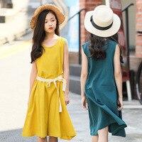 Kids Beach Dress 2019 Summer Linen Yellow Vest Sling Dress Baby Girls Dresses for Girls 14 Years Children Clothing Kids Costume