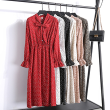 Bowtie Lace-up Printed Dress Women Chiffon S-XL Korean Chic Polka Dot Vintage Autumn Long Sleeve Midi Elegant Robe Femme