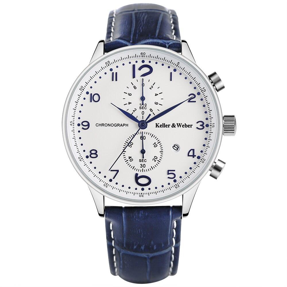 Keller & Weber Fashion Brand KW Watches White Blue Quartz Wristwatch Chronograph Date Display Genuine Leather Band Montre Homme luise keller luise keller ожерелье 133319