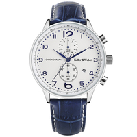 Keller Weber Fashion Brand KW Watches White Blue Quartz Wristwatch Chronograph Date Display Genuine Leather Band