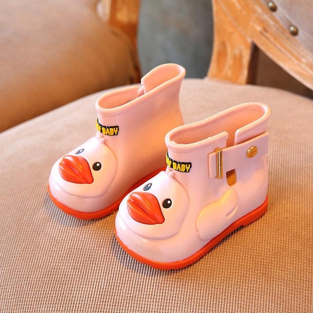 Бесплатная доставка детские Симпатичные Duck Дождь Сапоги Мальчиков и Девочек скольжения Детская обувь галоши Водонепроницаемый для Детей Резиновые Rainboots