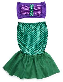 Vestido de verano para niñas, vestido de princesa ariel con cola de sirena, disfraz de cosplay para niña, vestido verde elegante