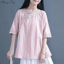Традиционная китайская одежда для женщин топы и блузки льняная рубашка Восточное женское платье-Ципао Топ Китай одежда G171
