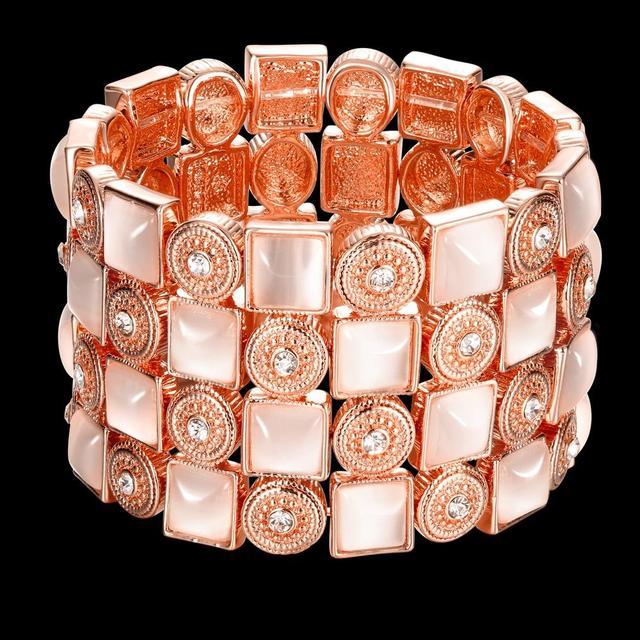 O real rose banhado a ouro charme pulseiras & bangles jóias de opala para as mulheres Top qualidade de luxo sexy party queen estilo Europa Hot