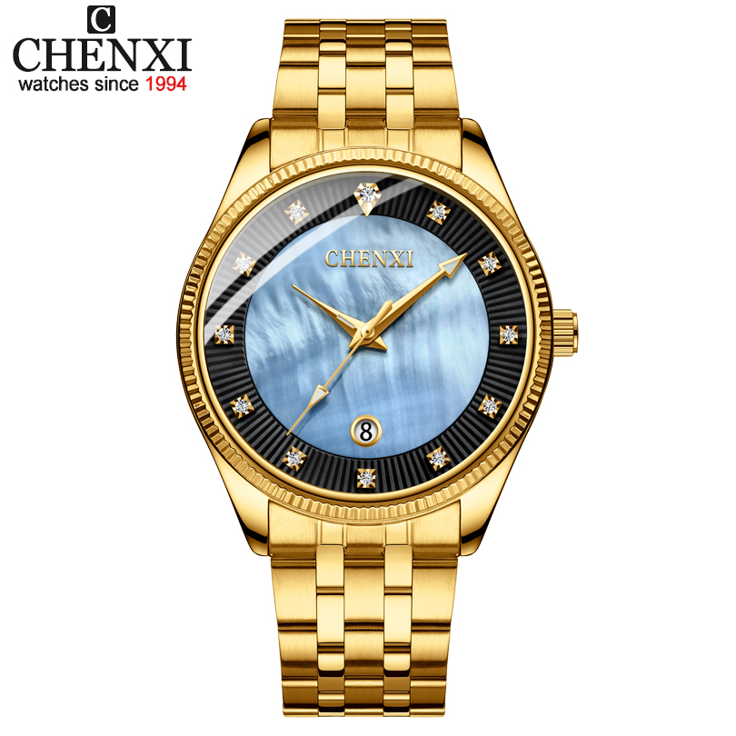 все цены на CHENXI Golden Watches Luxury Brand Men Watch Fashion Men Quartz Wrist Watches Male Gold Full Stainless Steel Relogio Masculino онлайн