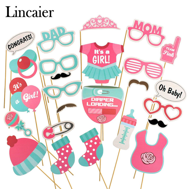 Lincaier 25pcs Baby Shower Photobooth Props Its A Boy Girl Party