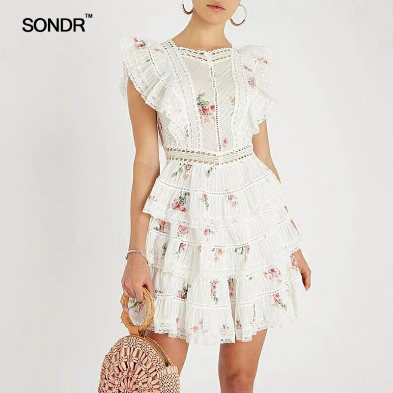 SONDR 2019 Spring Sleeveless Dresses Women High Waist Backless Lace Up print Mini Dress Female Sweet Style Fashion-in Dresses from Women's Clothing    1