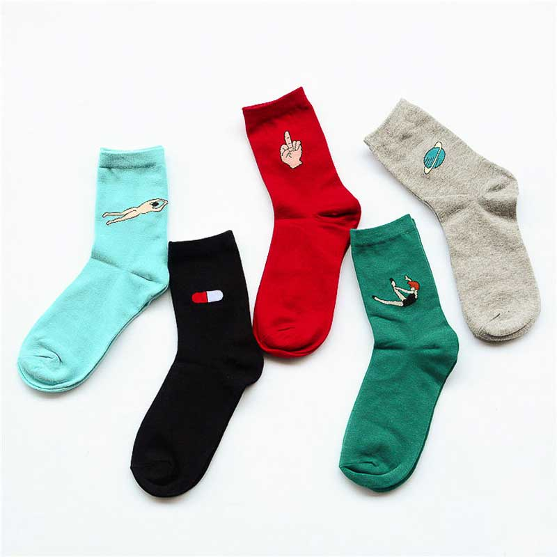 5 Pairs Set Fashion Women Short Cotton Socks Cartoon Solid Casual Dance&Swim Funny Breathable Cartoon Mid Finger Art Female Sox