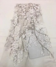Embroidered Tulle Lace Fabric, Pearls Applique Fabric For Wedding, African 3D Flower High Quality FJ23