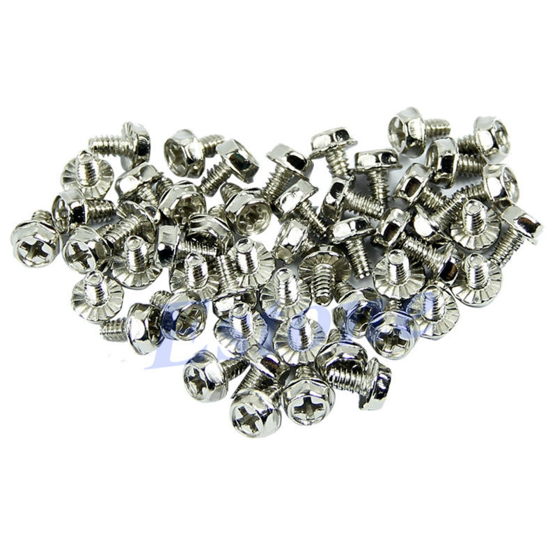 100pcs Toothed Hex 6/32 Computer PC Case Hard Drive Motherboard Mounting Screws High Quality