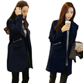 Navy Color Pocket and Zipper decoration Warm Female Coat Fashionable Long Sleeved cardigan coat