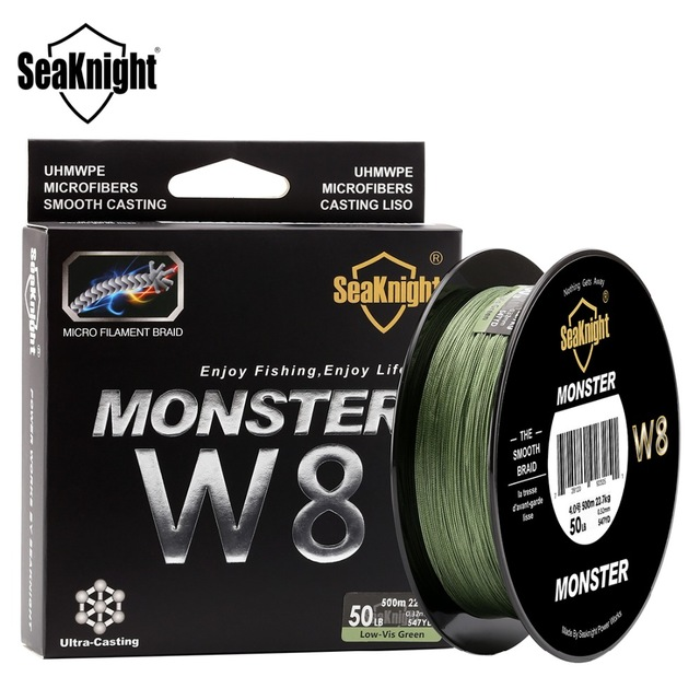 <font><b>monster</b></font> <font><b>w8</b></font> multicolor 8 strands fishing braid line <font><b>500</b></font> m wide angle technology pe lines for sea fishing fishing line 20-100lb image