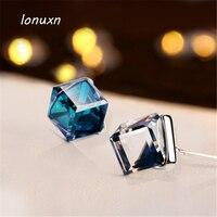 Blauwe kubus kristal oorbellen stempel mooie 925 Sterling Zilveren Korea kleine leuke party diner vrouwelijke mode vriendin gift