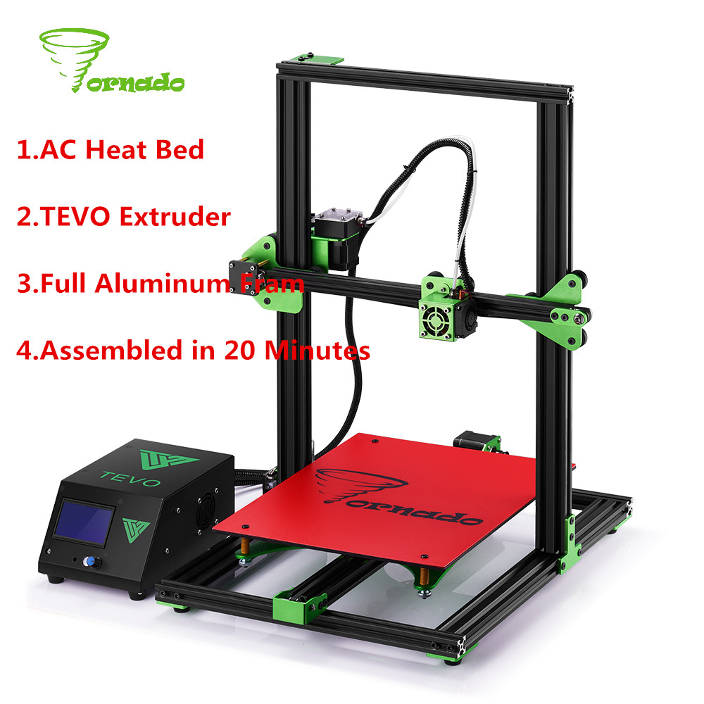 2017 Newest TEVO Tornado DIY Fully Assembled Aluminium 3D Printer Kit 300*300*400mm Large Printing Size 1.75mm 0.4mm Nozzle
