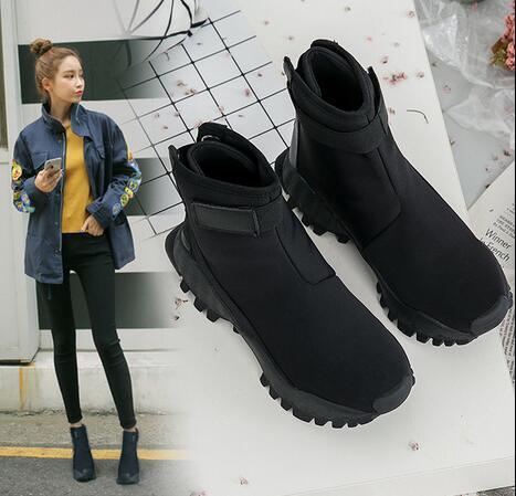 Female Fashion Ankle Boots Black Hook Loop Lady Hip Hop Autumn Shoes Woman Boots35- 40