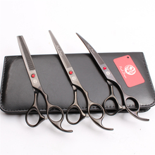 Z3003 3Pcs 7 Black Japan Steel Cutting Shears + Thinning Scissors Down Curving Professional Pets Hair Suit
