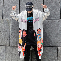 M-XL!! Personality cartoon printing men's loose hooded windbreaker youth street dance hip hop thin coat sun protection clothing.