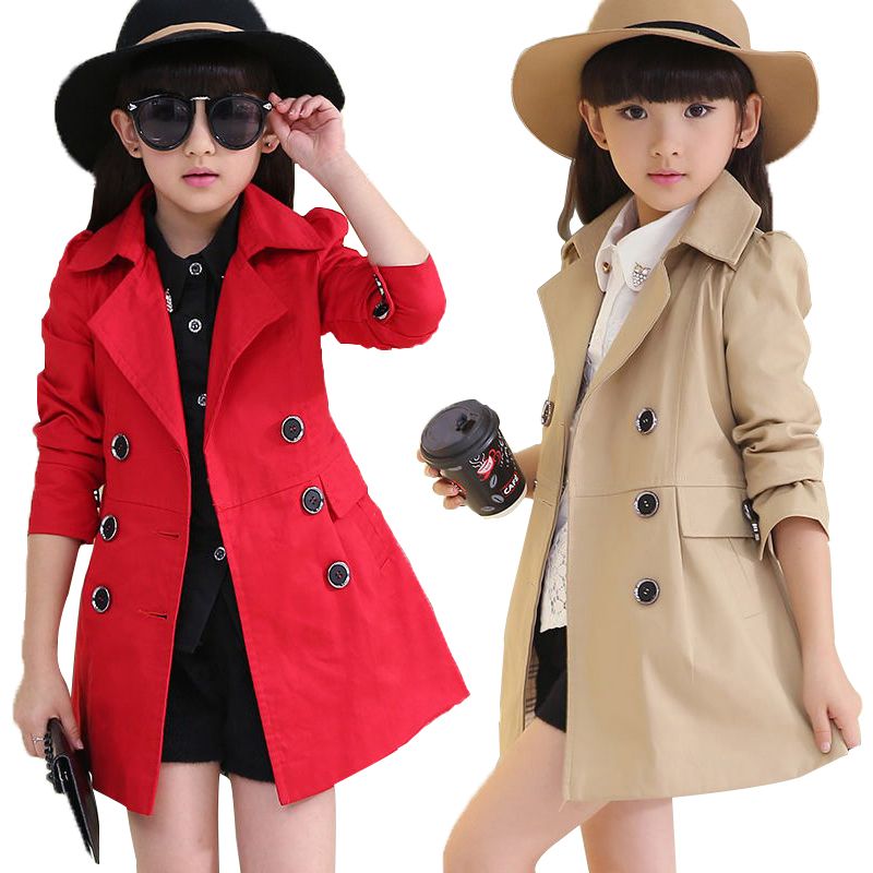 Big Girls Cotton Clothing Children Coat Big Kids Double Breasted Three Colors Overcoats Child Spring Outwear Autumn Long Clothes girls windbreaker autumn winter kids cotton coat children khaki double breasted long clothing england style for 4y 12y