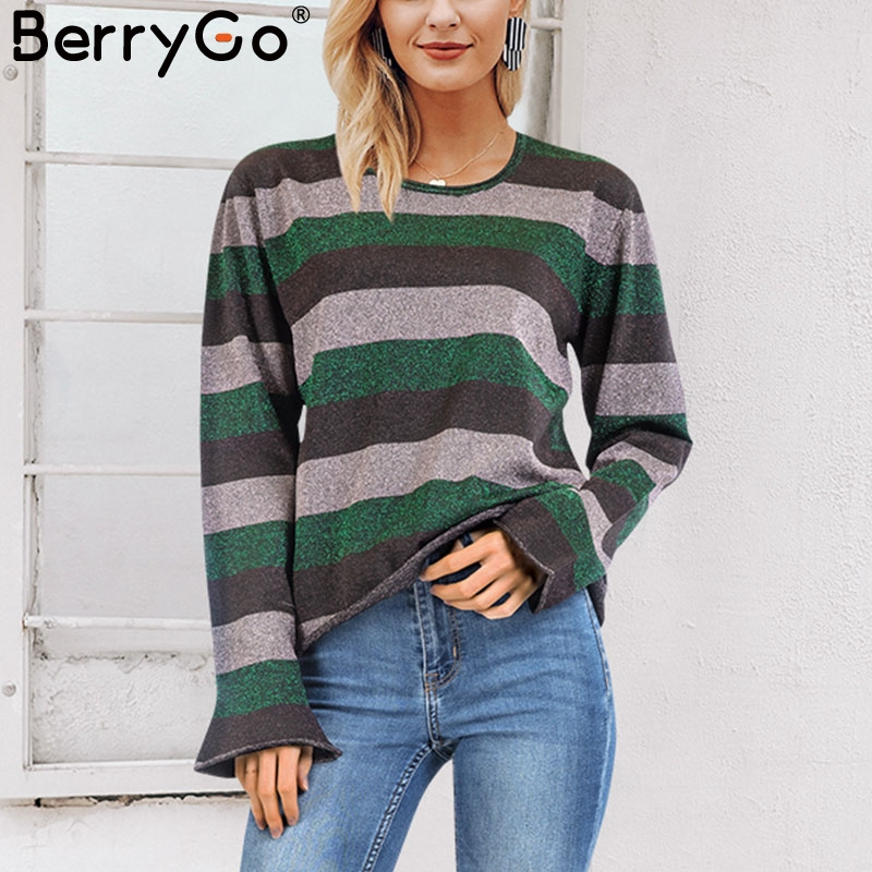 BerryGo Striped o neck bright silk sweater women winter 2018 Christmas long sleeve pullover sweaters female casual jumpers pull