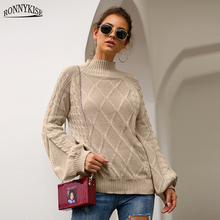 RONNYKISE Knitted Sweaters Autumn Winter Warm Long Sleeve Loose Women Fashion Causal Tops Female Clothes