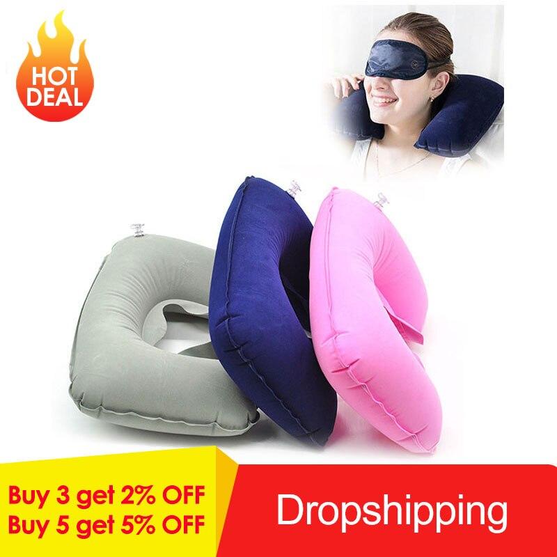 Inflatable U Shaped Travel Pillow Cushion pillow for Neck Protable Car Head Neck Plane Nap Rest Neck Back Flocking Pillow