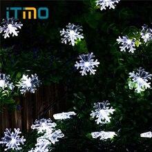 Itimo 6 метров солнечные Снежинка лампы для Рождество Новый год свадьбы Шторы Строка сказочных огней комнаты сад decortion