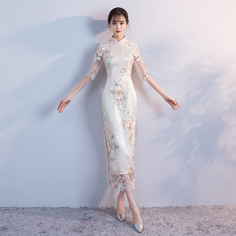 Wedding Party Cheongsam Oriental Evening Dress Chinese Traditional Women Elegant Qipao Sexy Long Robe Retro Vestido